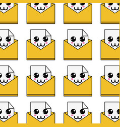 Kawaii Cute Happy File Message Background Vector Image