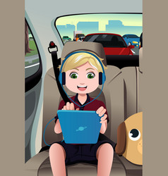 kid riding a car using a tablet vector image
