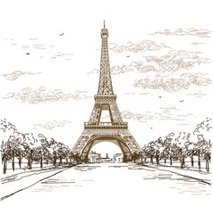 landscape with eiffel tower in brown colors on vector image