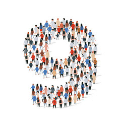 large group people in number 9 nine form vector image