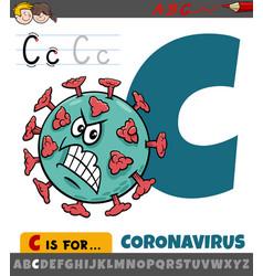 Letter c from alphabet with cartoon coronavirus vector