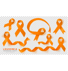 Leukemia awareness month orange color ribbon vector