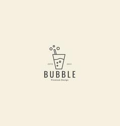 Lines drink glass bubble simple logo icon symbol vector
