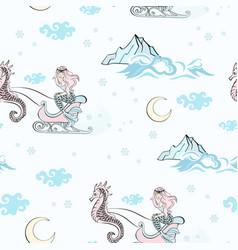 mermaid sleigh seamless pattern vector image