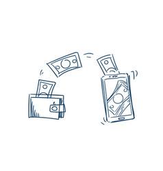 mobile wallet money transaction online bills vector image
