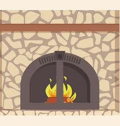 Modern stacked stone fireplace traditional decor vector