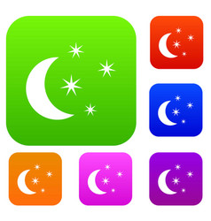 moon and stars set collection vector image