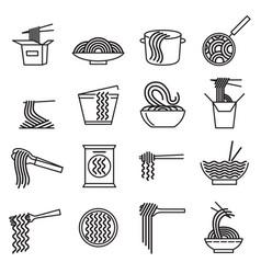 noodle sign black thin line icon set vector image
