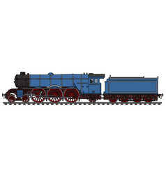 Old blue steam locomotive vector
