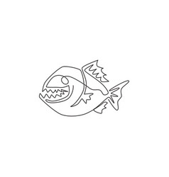 one single line drawing angry piranha for logo vector image