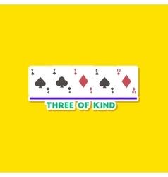 Paper sticker on stylish background poker three of vector