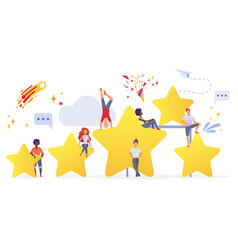 People with golden stars flat vector