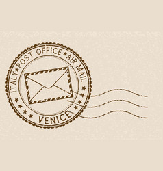 postal stamp with venice title round brown vector image