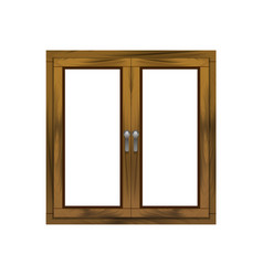 Realistic detailed 3d wooden window frame vector
