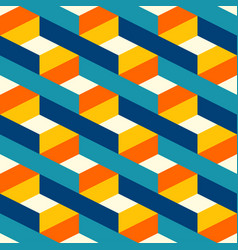 retro colorful 3d lines check pattern vector image
