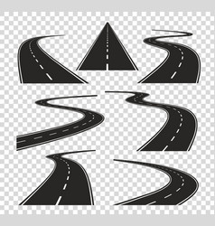 roads in perspective bended pathway road curved vector image