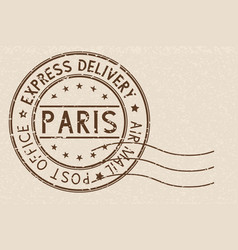 Round brown postmark paris france on beige vector