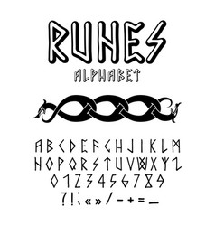 runic style hand drawn alphabet vector image