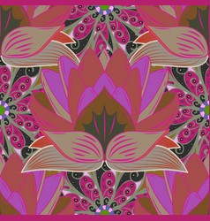 seamless floral pattern with doodles flowers on vector image