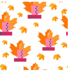 seamless pattern autumn yellow leaves and books vector image