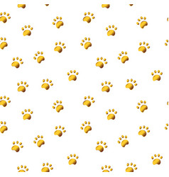 Seamless pattern with gold paw isolated on white vector