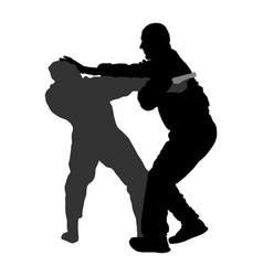 Self defense battle against aggressor silhouette vector