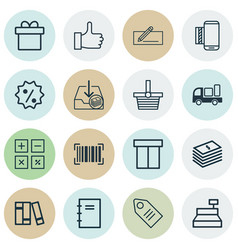 Set of 16 commerce icons includes ticket vector