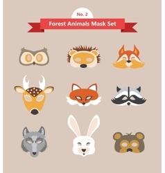 Set of animal masks set 2 forest animals vector