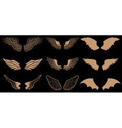 Set of wings in Gold style wings vector