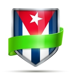 Shield with flag cuba and ribbon vector