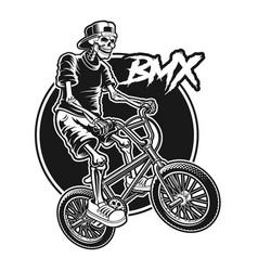 Shirt design a skeleton is jumping on bmx bike vector