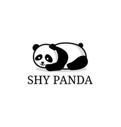shy panda cartoon logo designs lazy panda animal vector image