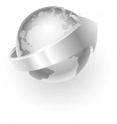 Silver metallic globe vector