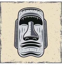 Stone face easter island moai statue vector