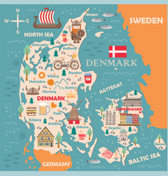 stylized map denmark vector image