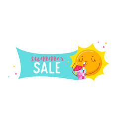 summer sale banner with cute cartoon sun character vector image