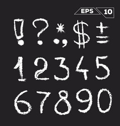 symbols and numbers hand drawn on chalkboard vector image