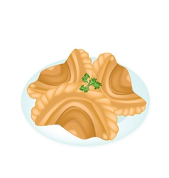 Three Thai Curry Puffs in A White Plate vector