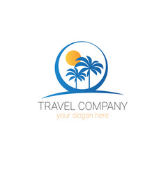 Travel company logo template tourism agency vector