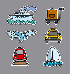 travel transport stickers vector image