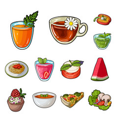 Vegetarian dish cartoon icons in set collection vector