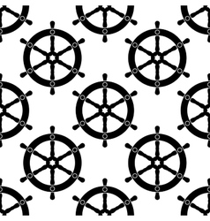 Vintage ships wheel seamless pattern vector