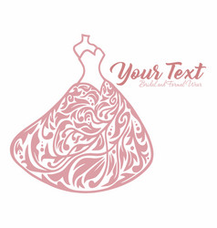 wedding gown dress boutique bridal logo vector image