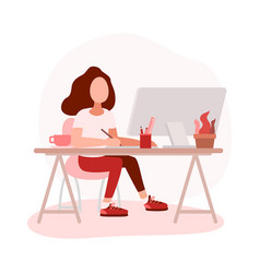 Woman graphic designer working on computer vector