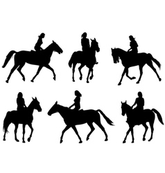 Woman riding horse vector