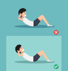 Wrong and right sit-up posture vector