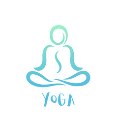 Yoga class logo on white man in lotus position vector