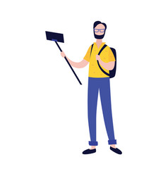 young man with backpack making photo or video of vector image