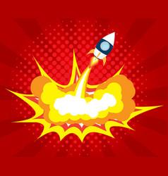 abstract rocket launch boom comic book pop art vector image vector image
