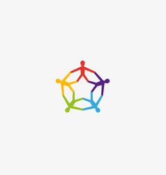 community people logotype teamwork social vector image